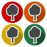 Tree symbol, Tree icons set with long shadow. Vector icon Stock Photos