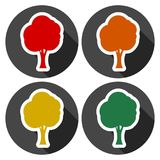 Tree symbol, Tree icons set with long shadow. Vector icon Royalty Free Stock Image