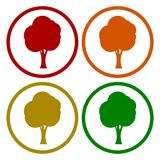 Tree symbol, Tree icons set with long shadow. Vector icon Royalty Free Stock Photography