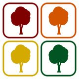 Tree symbol, Tree icons set with long shadow. Vector icon Stock Image