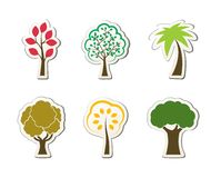 Tree symbols for green web design. Oak palm maple isolated vector illustration Stock Photos