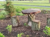 Tree table and chairs royalty free stock photos