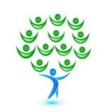 Tree teamwork people logo vector. Design illustration Royalty Free Stock Photography