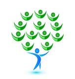 Tree teamwork people logo vector. Design illustration Royalty Free Stock Photos