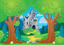 Tree theme with castle ruins. Eps10 vector illustration Stock Photos