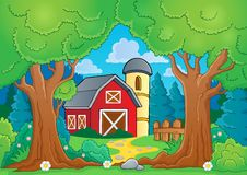 Tree theme with farm 3 Royalty Free Stock Image