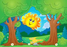 Tree theme with sun 1 Royalty Free Stock Image