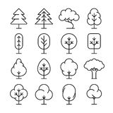 Tree thin line vector icons set Royalty Free Stock Photos