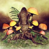 Tree throne with mushrooms. Fairytale tree throne with colorful mushrooms and fern on a green meadow stock illustration
