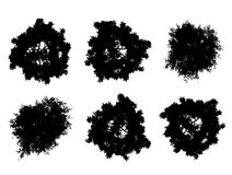 Tree top silhouettes. Tree top black vector silhouettes isolated on white Stock Photography