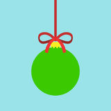 Tree toy with ribbon. Red Christmas ball-shaped toy with a ribbon on a blue background. Flat design. Vector illustration. EPS 8, no transparency Stock Photography