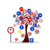 Tree with traffic signals Royalty Free Stock Photos