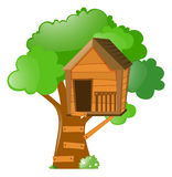 Tree with treehouse on it. Illustration Royalty Free Stock Photos