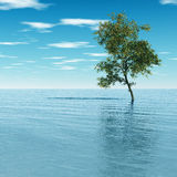Tree. S in the flood - digital artwork Stock Photo