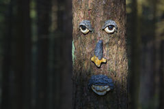 Tree trunk decorated with face Royalty Free Stock Photography