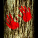 Tree trunk: hands. Illustration: tree trunk: hands stock illustration