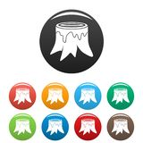 Tree trunk icons set color vector illustration