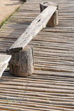 Tree trunk log seat on the patio Royalty Free Stock Photos