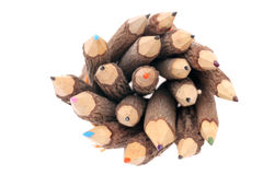 Tree trunk pencils top view Stock Photo