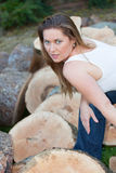 Tree trunks woman Royalty Free Stock Images