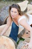 Tree trunks woman Stock Photography
