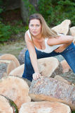 Tree trunks woman Royalty Free Stock Image