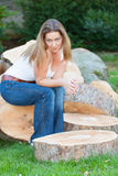 Tree trunks woman Stock Photography