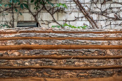 Tree trunks. And wood boards Royalty Free Stock Photos