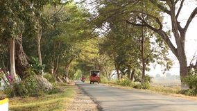 Tree tunnel road in Bagan, Myanmar. View of the tree tunnel road in Bagan, Myanmar. Bagan is accessible by air, rail, bus, car and river boat stock video footage