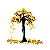 Tree Turn Yellow Tone in Isolated or White Background. The yellow tree in isolated background vector illustration
