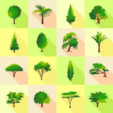 Tree type forms icons set, flat style. Tree type forms icons set. Flat illustration of 16 tree type forms icons set vector icons for web Stock Photography
