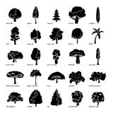 Tree types icons set, simple style. Tree types icons set. Simple illustration of 25 tree types vector icons for web Stock Images