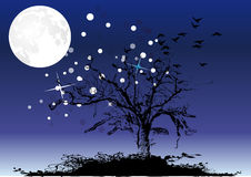 Tree under moon and stars Stock Photos