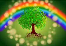 Tree under rainbow background Stock Image
