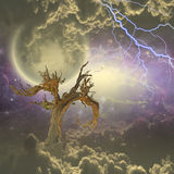 Tree under stars and clouds. With energy all around Stock Photography