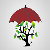 Tree under an umbrella Stock Photos