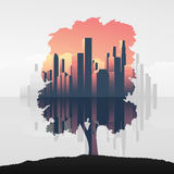 Tree and urban business skyline double exposure vector illustration background. Symbol of environment, nature, ecology. Royalty Free Stock Photos