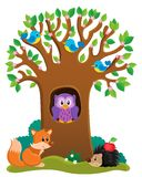 Tree with various animals theme 3 stock illustration