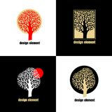Tree. Vector abstract flat icon set. Illustration with the image of a tree. Vector abstract flat icon. The modern concept white, black, red color and gold foil Stock Photography