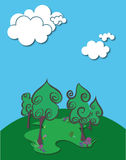 4 TREE VECTOR BACKGROUND Stock Images