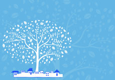 Tree vector in the city with azure background Stock Photo