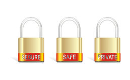 tree Vector gold padlock Royalty Free Stock Image