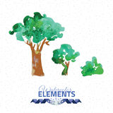 Tree vector illustration. Hand drawn watercolor painting on white background Royalty Free Stock Images