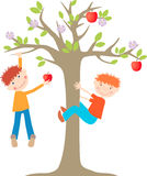 On the tree. Vector image of  the little cheerful boys playing in a garden Stock Image