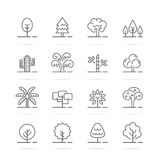 Tree vector line icons Royalty Free Stock Image