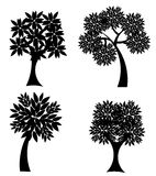 Tree vector silhouettes Stock Photography