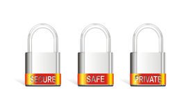 Tree vector silver padlock. White isolated silver metal lock vector Royalty Free Stock Photography