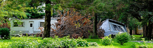 Tree versus mobile home storm damage Royalty Free Stock Images