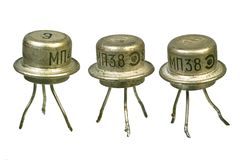 Tree vintage electronic transistors Stock Photos