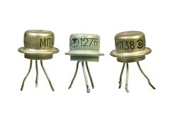 Tree vintage electronic transistors royalty free stock photo